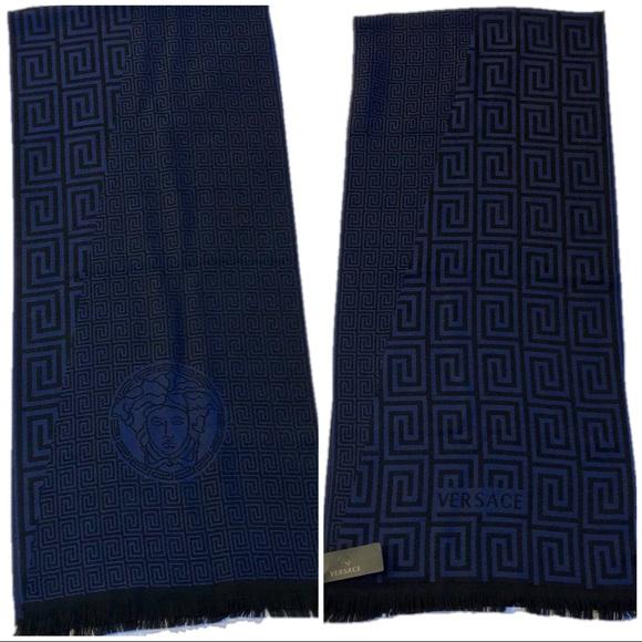 Greek Key knitted scarf - Blue Versace vG6jJaL9uq